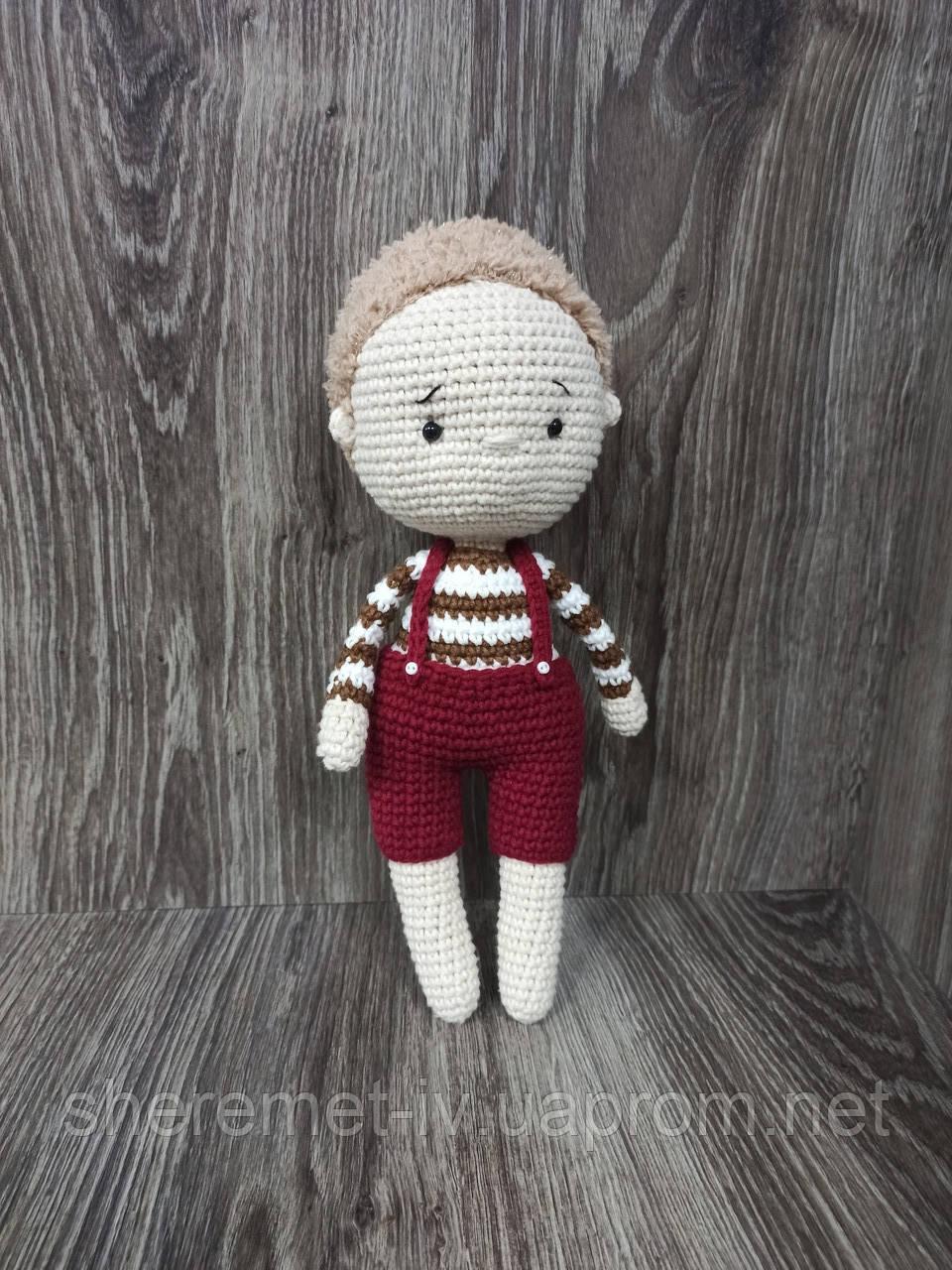 Вязаная кукла тильда мальчик ручная работа