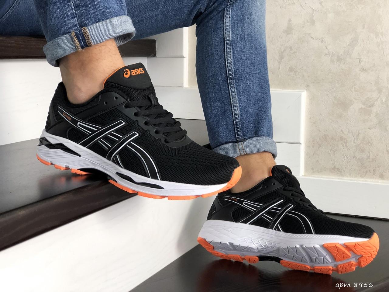 Мужские кроссовки Asics GT1000 (черно-белые с оранжевым) 8956