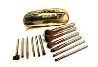 Набор кистей Naked gold 12 штук в кошельке, кисточки для макияжа