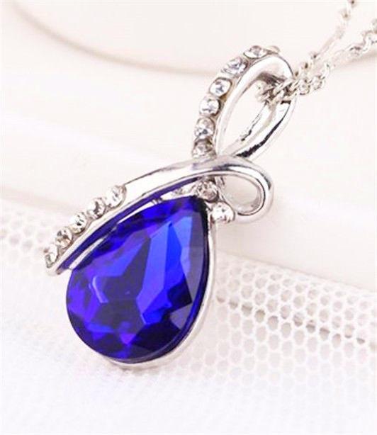 Яркий амулет медальон кулон ожерелье подвеска QQ5 кулончик амулет оберег талисман - капелька капля со стразами