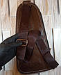 Кожаная сумка-рюкзак на плечо мужская Jeep темный-шоколад (Реальные фото), фото 2