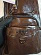 Кожаная сумка-рюкзак на плечо мужская Jeep темный-шоколад (Реальные фото), фото 4