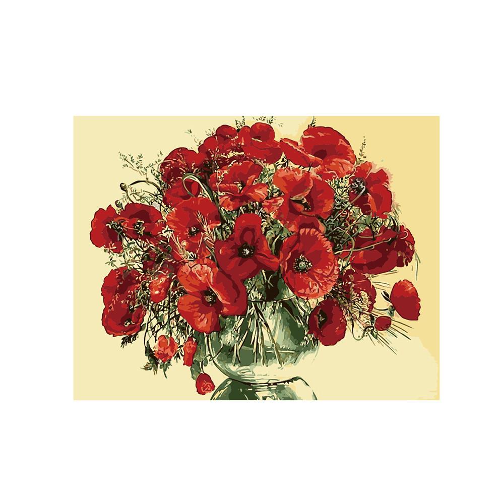 Картина по номерам Красные маки в стеклянной вазе