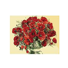 Картина за номерами Червоні маки в скляній вазі