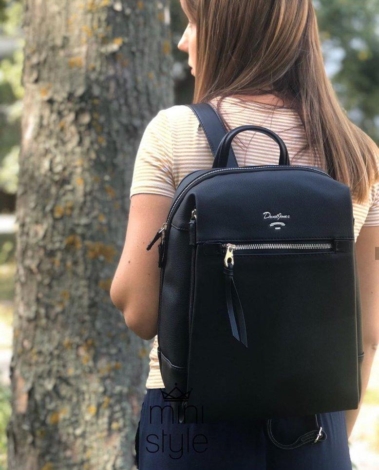 Вместительный женский рюкзак David Jones, черный классический городской / жіночий рюкзак