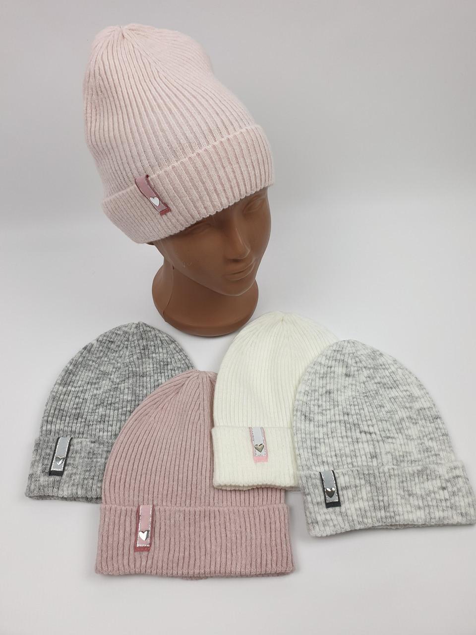 Подростковые демисезонные вязаные шапки для девочек оптом, р.48-50, Agbo (2773malaga)