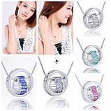 Роскошный медальон кулон ожерелье подвеска QQ5 кулончик амулет оберег талисман - сердечко в кольце со стразами, фото 2