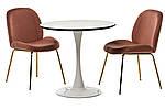 Стол обеденный, кофейный, круглый МДФ T-318 мрамор+белый,диаметр 80см, фото 2