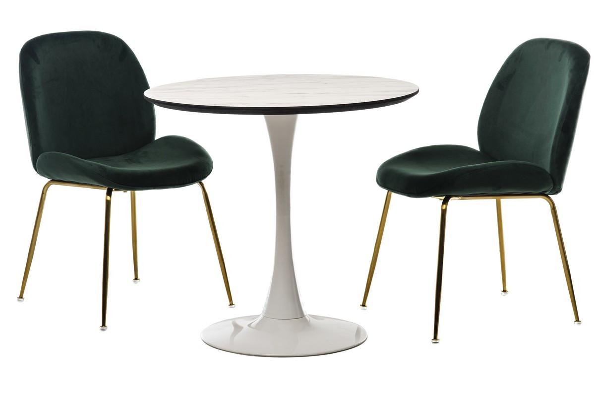 Стол обеденный, кофейный, круглый МДФ T-318 мрамор+белый,диаметр 80см