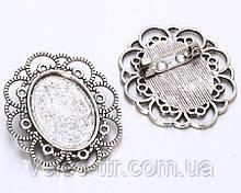 Основа для броши Сеттинг овальная Серебро античное 40х35 мм под кабошон 25х18 мм
