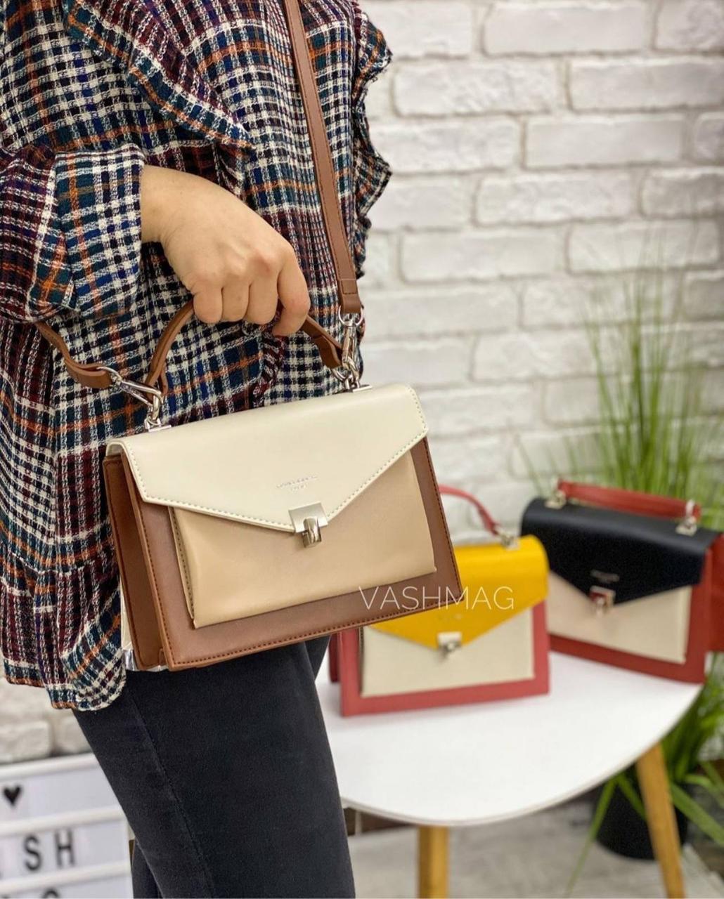 Жіноча сумка клатч David Jones, молочна / жіноча сумка
