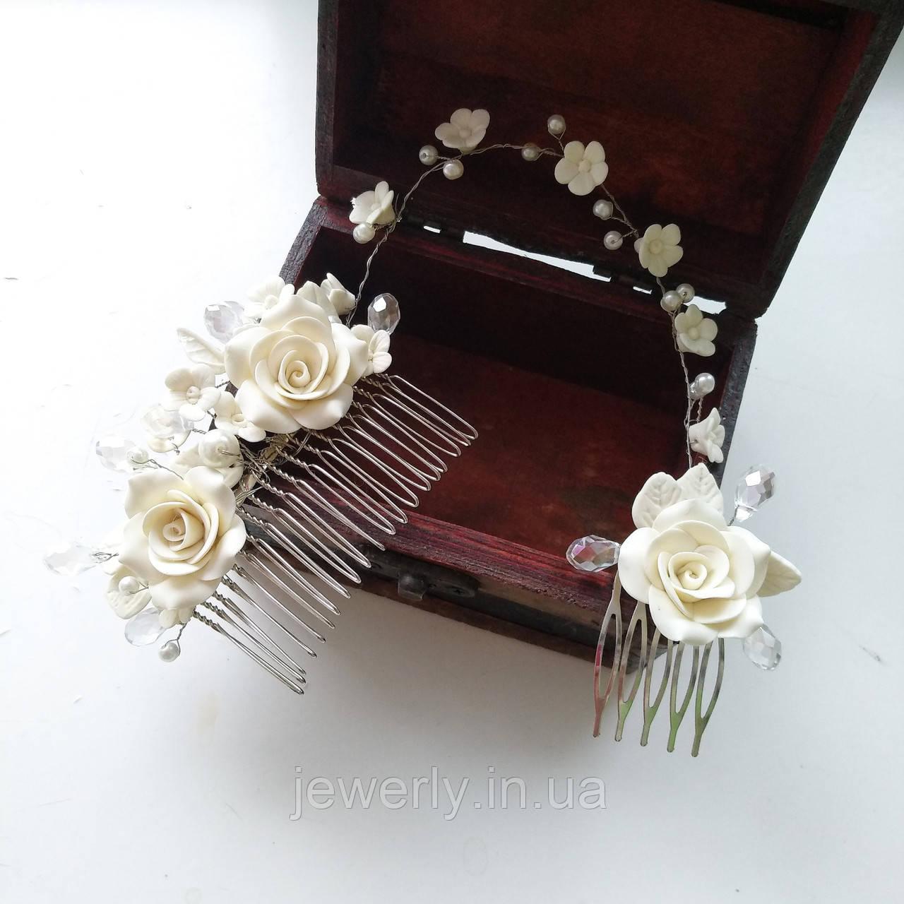 Двойной свадебный гребень с розами
