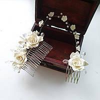 Двойной свадебный гребень с розами, фото 1
