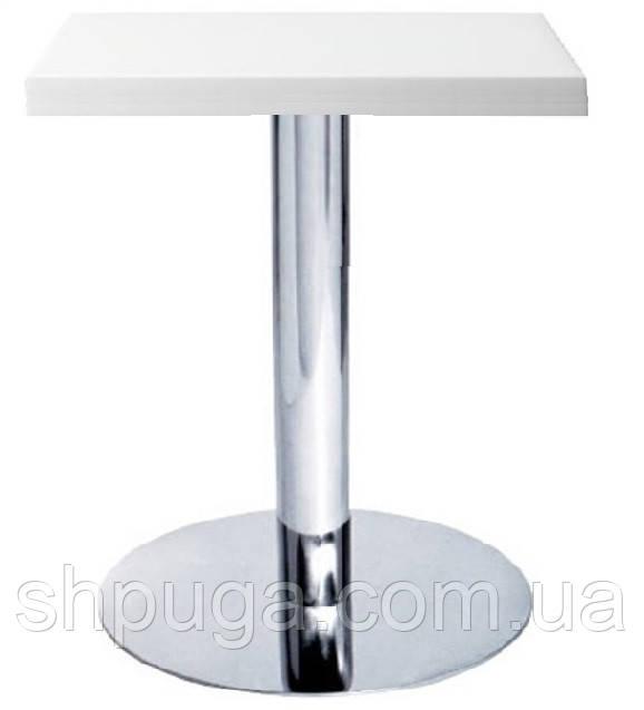 Стол Таити А, хром, белый 60х60 см, высота 72 см