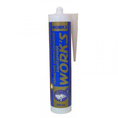 Герметик санитарный силиконовый 280 мл белый Works 11007 (65904)