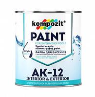 Kompozit АК-12 Голубая 2,8 кг - Краска для бассейнов для декоративно-защитной окраски подводной и надводной
