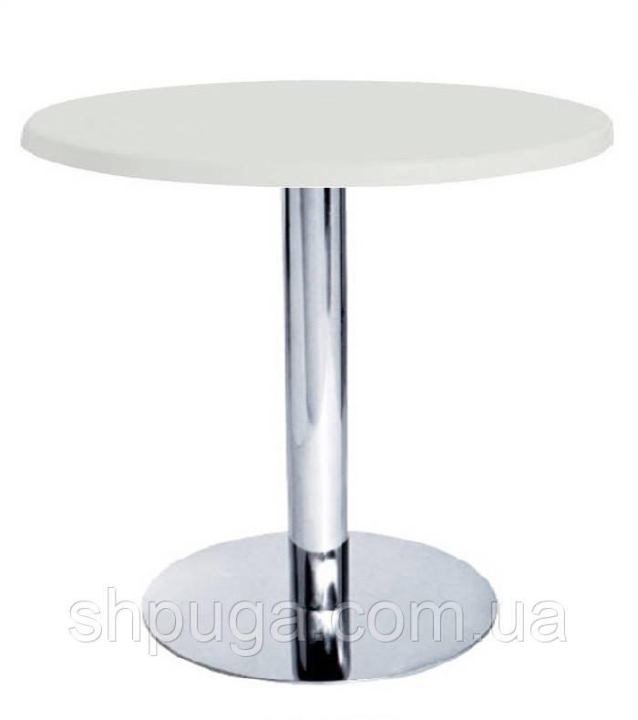 Стол барный - стойка  Тори К, хром, белый 60 см, высота 72 см