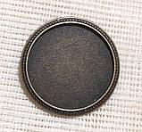 Основа для броши Сеттинг под кабошон круглая бронза 36 мм кабошон 30 мм, фото 2