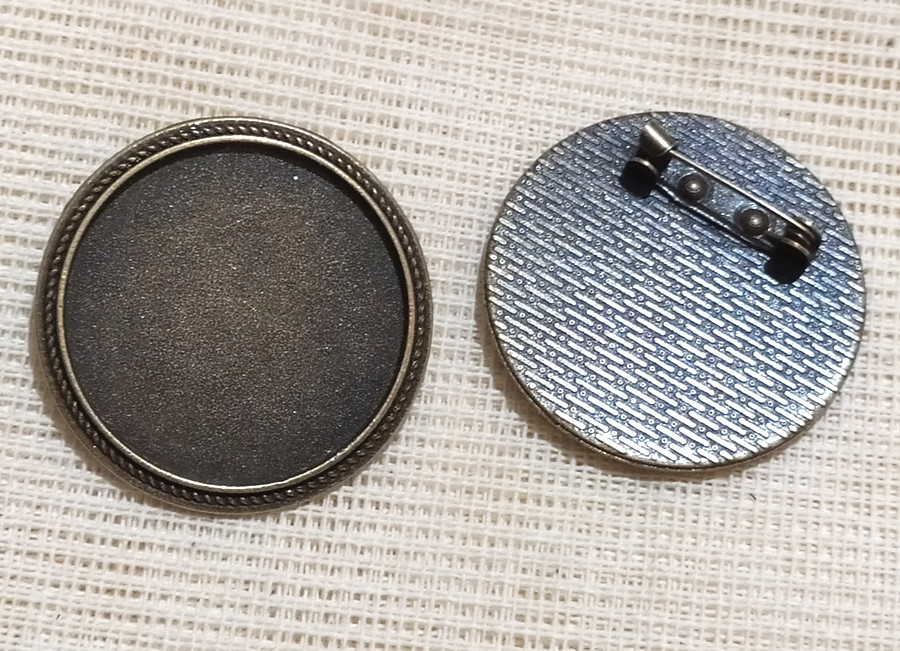 Основа для броши Сеттинг под кабошон круглая бронза 36 мм кабошон 30 мм