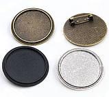 Основа для броши Сеттинг под кабошон круглая бронза 36 мм кабошон 30 мм, фото 3
