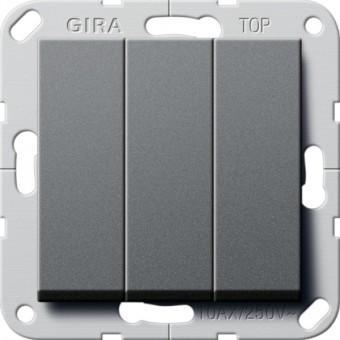 Выключатель 3-кл. проходной GIRA System 55 антрацит