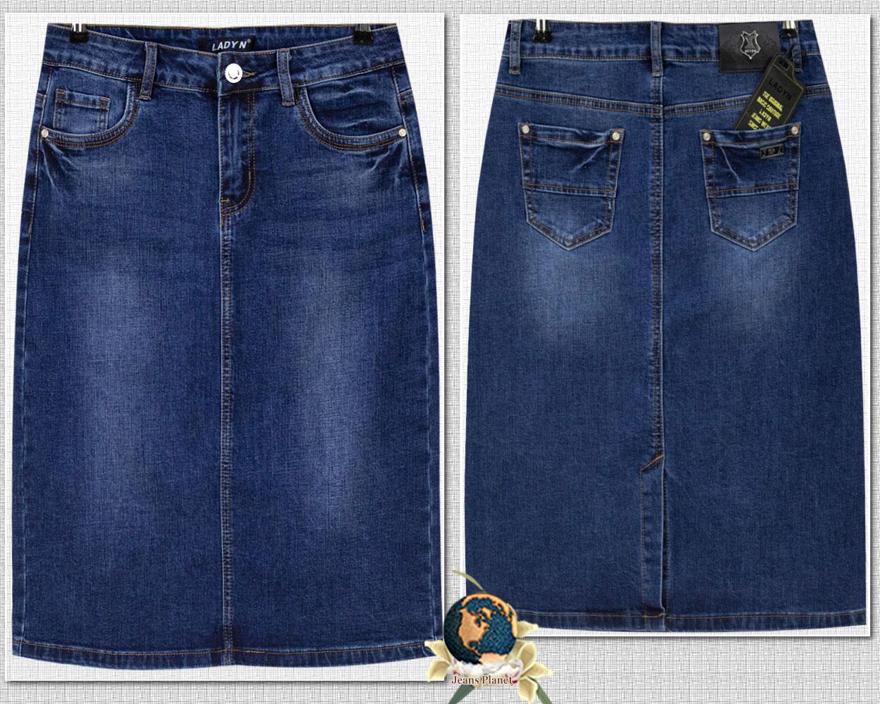Юбка джинсовая классическая длинная LadyN синего цвета 31 размер