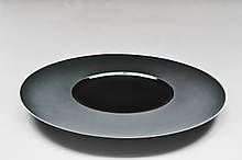 "Тарілка кругла чорна плоска з матовими бортами 10"", Діаметр 25,5 см"