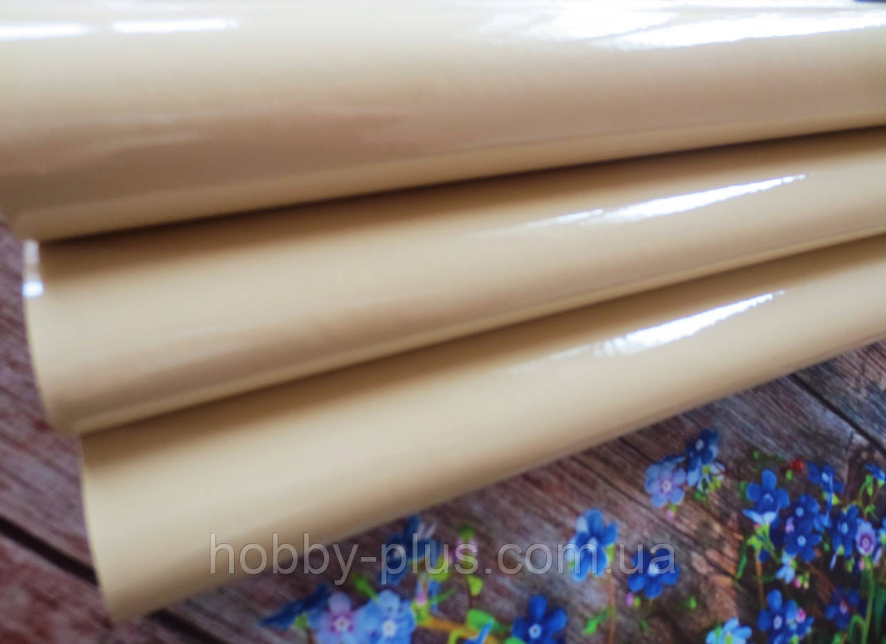 Экокожа (кожзам) лаковая на тканевой основе, ПЕСОЧНЫЙ, 20х27 см