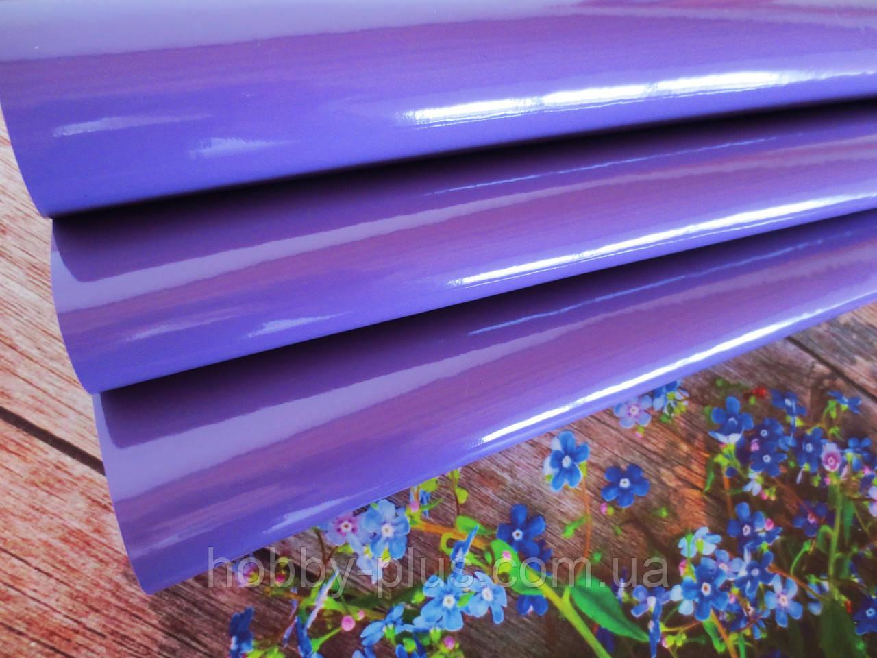 Экокожа (кожзам) лаковая на тканевой основе, ФИОЛЕТОВЫЙ, 20х27 см