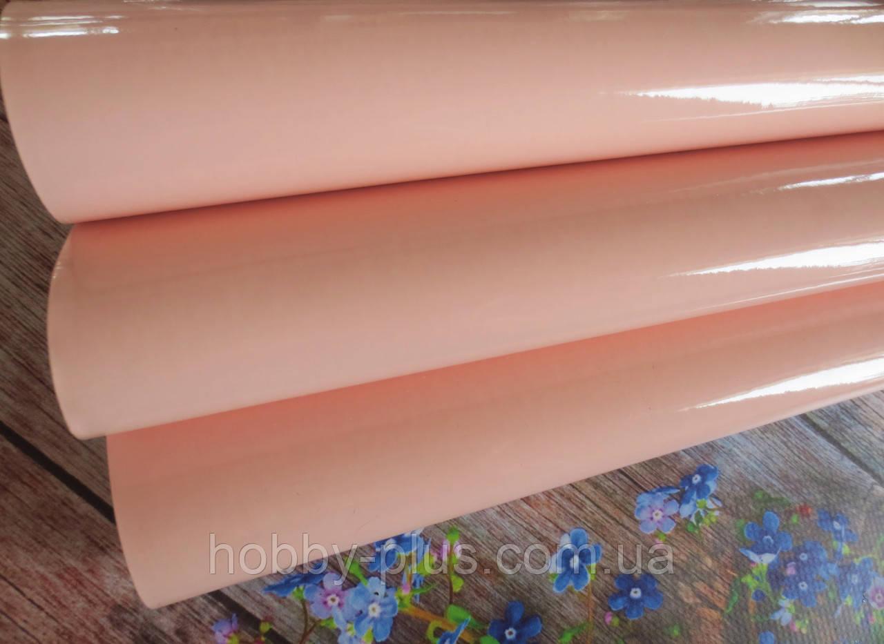 Экокожа (кожзам) лаковая на тканевой основе, ПЕРСИКОВЫЙ, 20х27 см