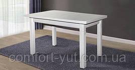 Стіл Класік Люкс білий 120(+40+40)*75 обідній розкладний дерев'яний