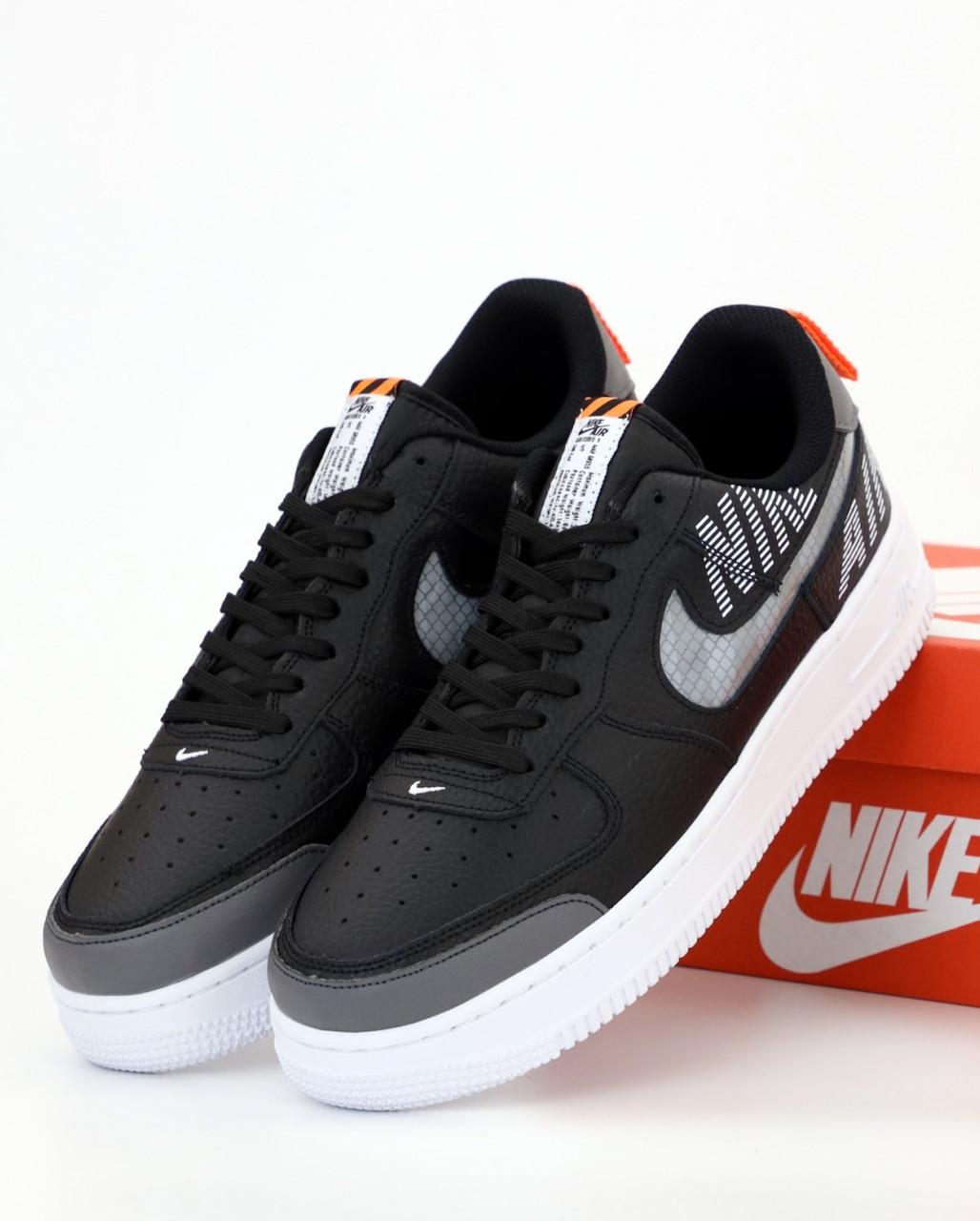 Мужские кроссовки Nike Air Force 1 Low Black, рефлективные