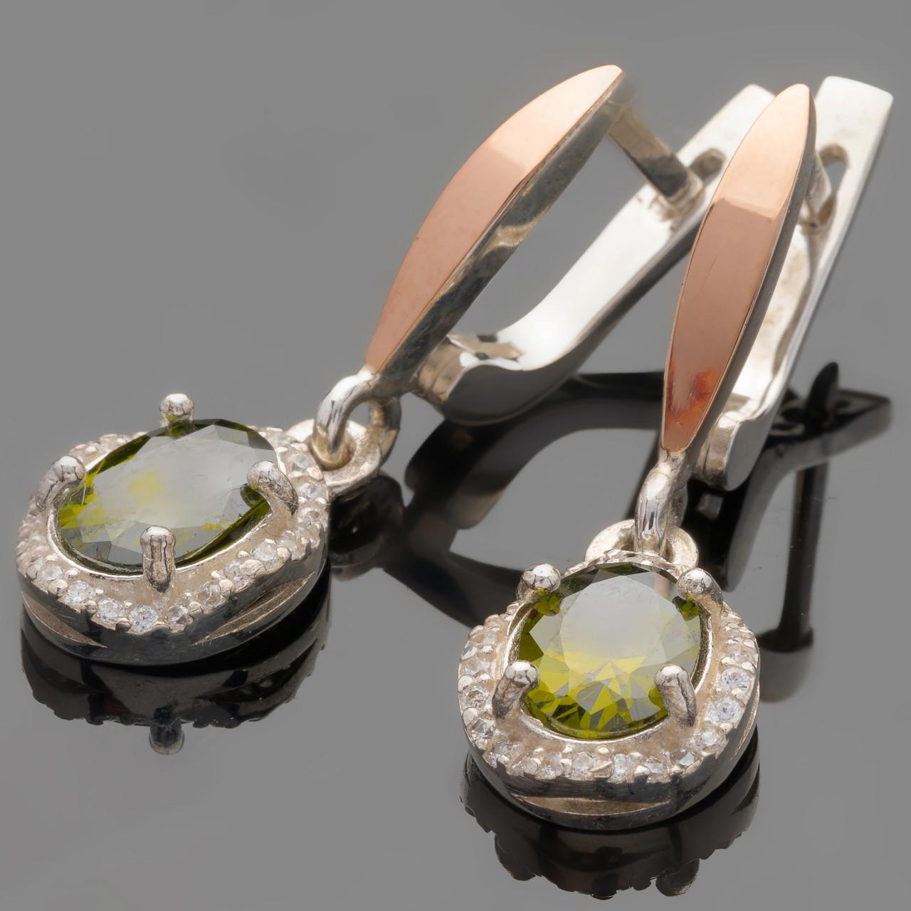 Серебряные серьги 925 пробы с золотыми вставками арт. 450с