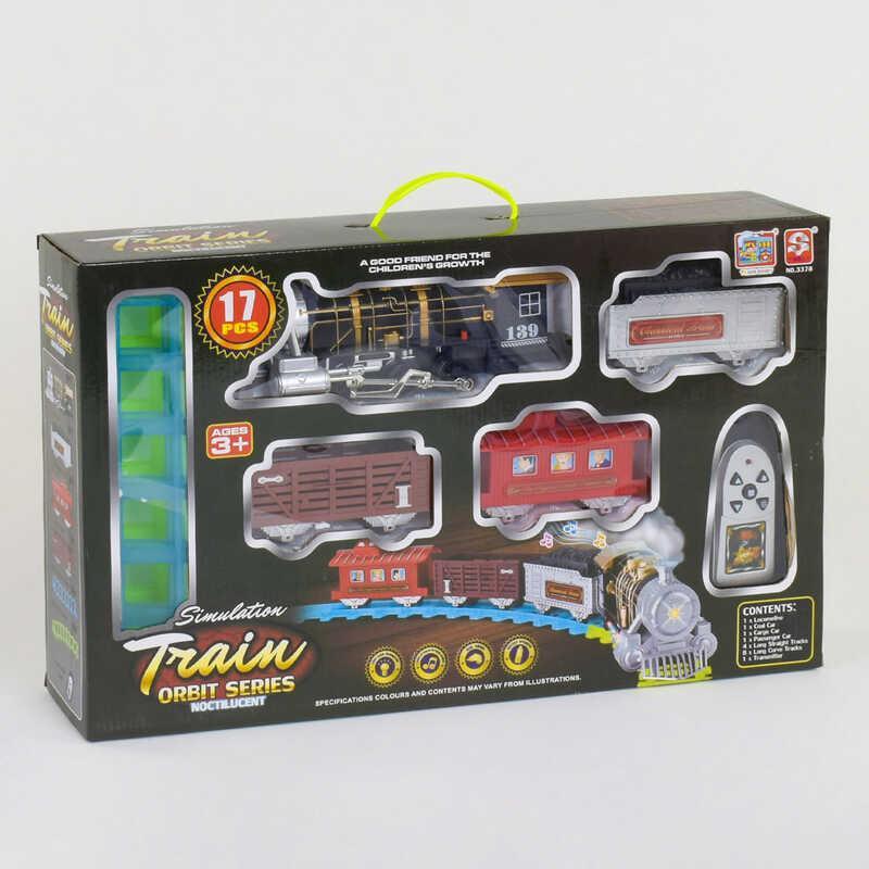 Железная дорога на р\у 3378 (12) поезд со звуком, светом прожектора и дымом, 17 деталей, в коробке