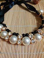Ожерелье с жемчугом, черные бусины