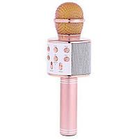 Беспроводной микрофон караоке 858 Золото-Розовый, фото 1