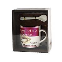 Чашка с ложечкой в подарочной упаковке Blue Mountain Coffee красная