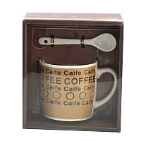 Чашка с ложечкой в подарочной упаковке Coffee Caife коричневая