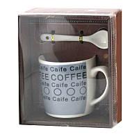 Чашка с ложечкой в подарочной упаковке Coffee Caife синяя