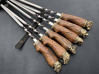 """Шампуры с головами диких животных в подарок охотнику """"То, что надо"""" с шашлычной вилкой, в колчане, фото 2"""