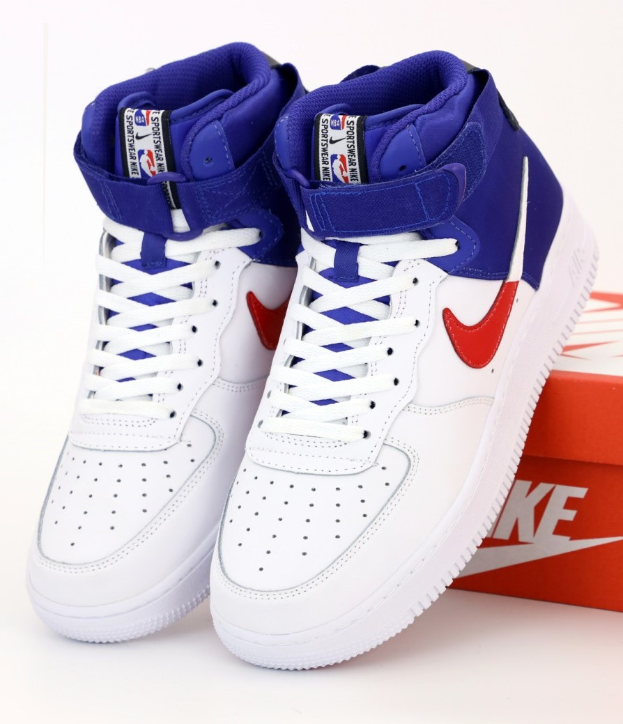Мужские кроссовки Nike Air Force 1 Mid White, Blue