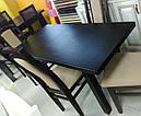 Стол Классик Люкс бежевый 120(+40+40)*80 обеденный раскладной деревянный, фото 5