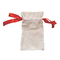 Мешочки из двунитки с красной лентой (14х24)