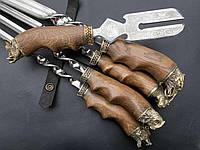 """Набор шампуров ручной работы и вилка для снятия шашлыка """"Звери"""", в кожаном колчане"""
