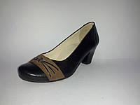 Кожаные польские черные женские удобные классические туфли 36 Tanex
