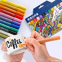 Набор акриловых маркеров для рисования. Набор разноцветных  маркеров для рисования на разных поверхностях