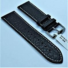 Ремінець з натуральної шкіри CONDOR 307.24.01 (24 мм) чорний шкіряний ремінець на годинник ремінець для