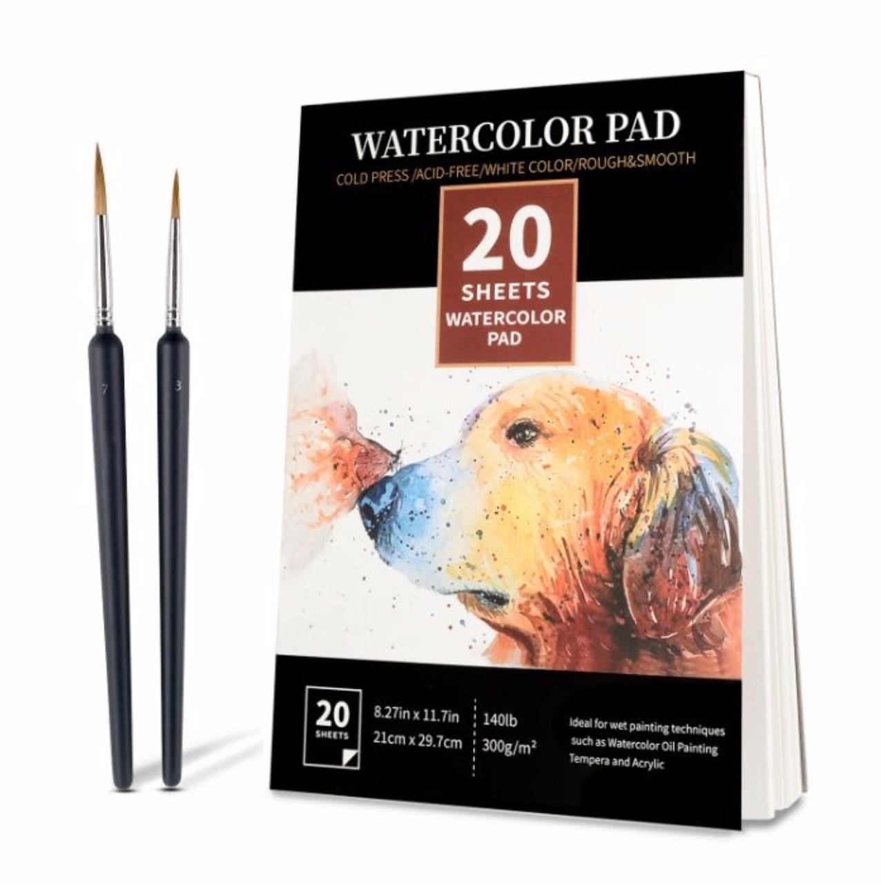 Бумага для акварели Watercolor Pad  А4 21 x 29.7 см, 300 г/м2 20 листов + 2 кисти (0709004)