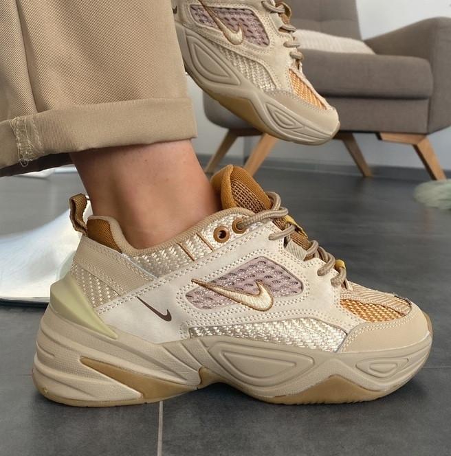 Женские кроссовки Nike M2K Tekno SP Schuhe beige 36-40р.. Живое фото (Топ реплика ААА+)