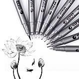 Капилярные лайнеры черные 9 шт STA для скетчей, набор капиллярных ручек для рисования (B091220), набор линеров, фото 2